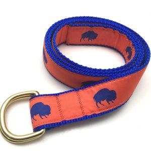 Orange and Blue Buffalo print belt, Buffalo Themed belt, Colorful belt, Elmwood Pet Supplies