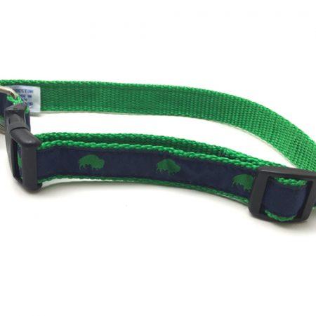 Blue and Green Buffalo print dog collar, Buffalo Themed Dog collar, Blue dog collar, Elmwood Pet Supplies