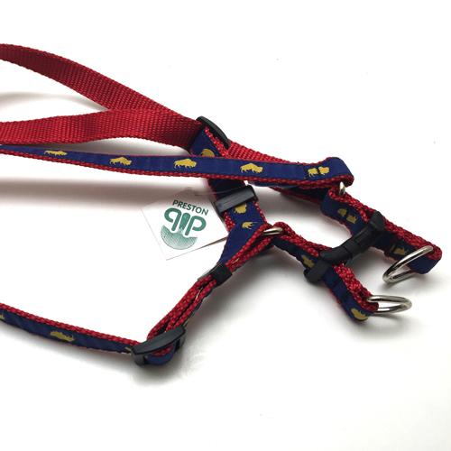 Blue and Red Buffalo print dog harness, Buffalo Themed Dog harness, Colorful Dog harness, Elmwood Pet Supplies