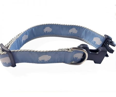 Blue and White Buffalo print dog collar, Buffalo Themed Dog collar, Blue dog collar, Elmwood Pet Supplies