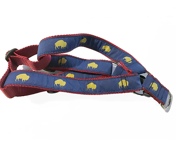 Blue and Red Buffalo print dog harness, Buffalo Themed Dog harness, Colorful Dog harness, Elmwood Pet Supplies