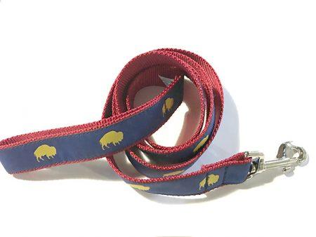 Blue and Red Buffalo print dog leash, Buffalo Themed Dog leash, Colorful Dog leash, Elmwood Pet Supplies